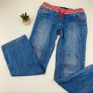 Mini Boden Heart Knee Straight Leg Jeans